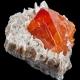 Sielit da cam nằm trên muscovit (mỏ Pingwu, Trung Quốc)