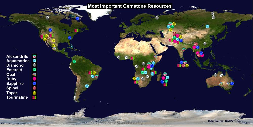 Bản đồ đá quý trên thế giới