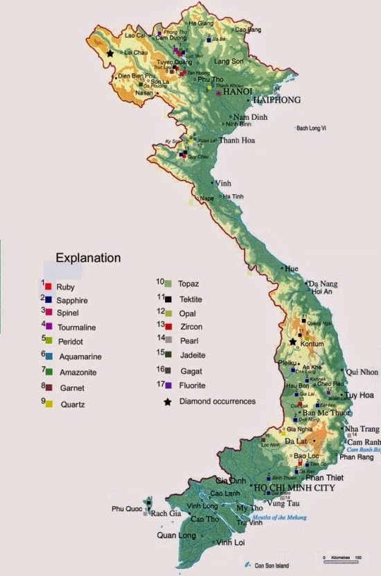 bản đồ đá quý việt nam