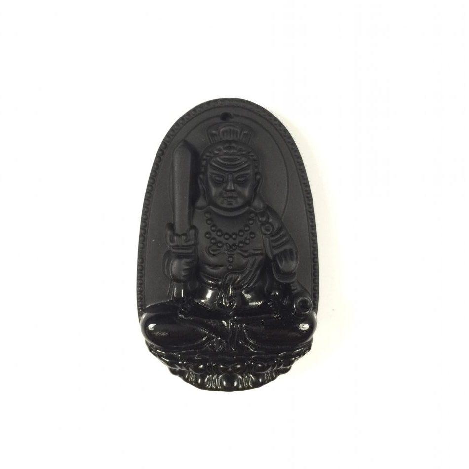 Mặt dây chuyền Bất Động Minh Vương đá Obsidian