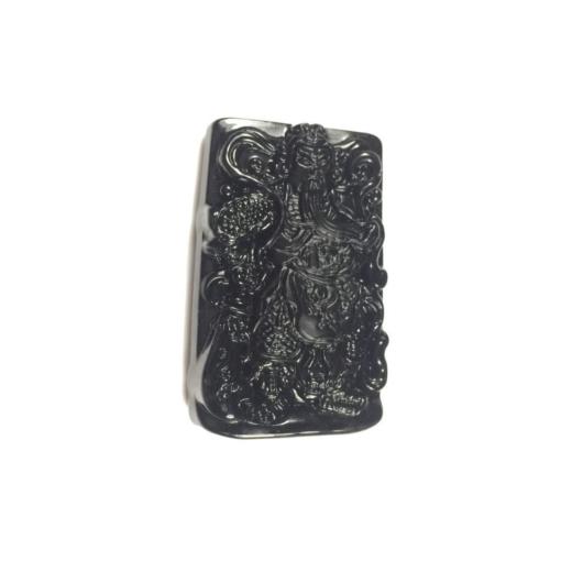 Mặt dây chuyền Quan Công đá núi lửa Obsidian