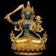 Tượng Văn Thù Bồ Tát Tây Tạng đá Lapis Lazuli nạm vàng