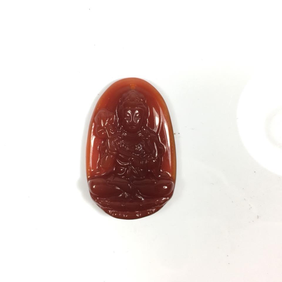 Mặt dây chuyền Đại Thế Chí Bồ Tát đá mã não đỏ
