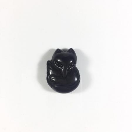 Mặt dây chuyền Hồ Ly đá Obsidian 1