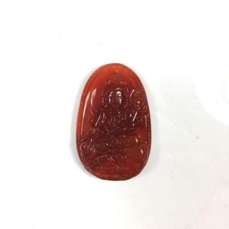Mặt dây chuyền Phổ Hiền Bồ Tát đá mã não đỏ
