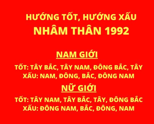 Nam nữ tuổi Nhâm Thân sinh năm 1992 hợp hướng nào