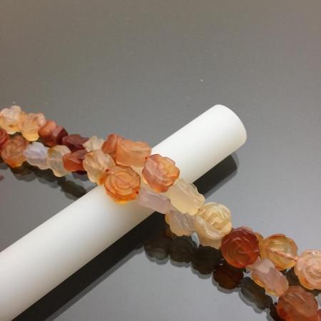 Chuỗi hạt đá mã não hình hoa hồng màu cam 12mm 2