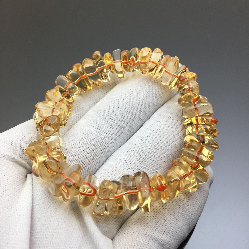 Vòng đá thạch anh vàng citrine hạt bắp 12mm