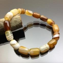 Vòng tay đá mã não Botswana Agate hình lu thống vàng chanh 8mm