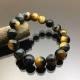 Vòng tay phong thủy đá mắt hổ xanh - vàng 12mm