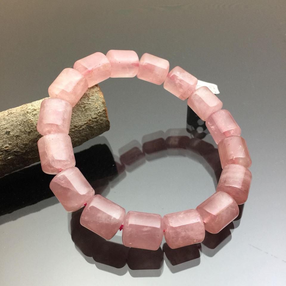 Vòng tay phong thủy thạch anh hồng hình trụ 12mm