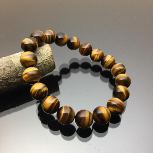 Vòng tay phong thủy đá mắt hổ nâu vàng 10mm
