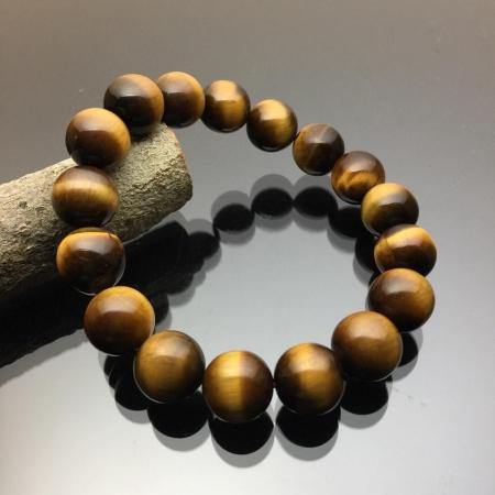 Vòng tay phong thủy đá mắt hổ nâu vàng 12mm