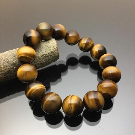 Vòng tay phong thủy đá mắt hổ nâu vàng 14mm