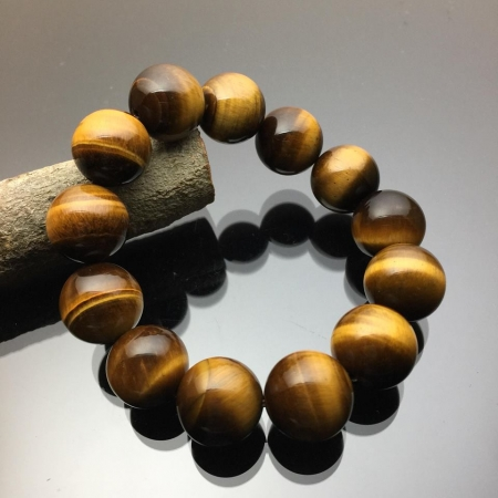 Vòng tay phong thủy đá mắt hổ nâu vàng 16mm