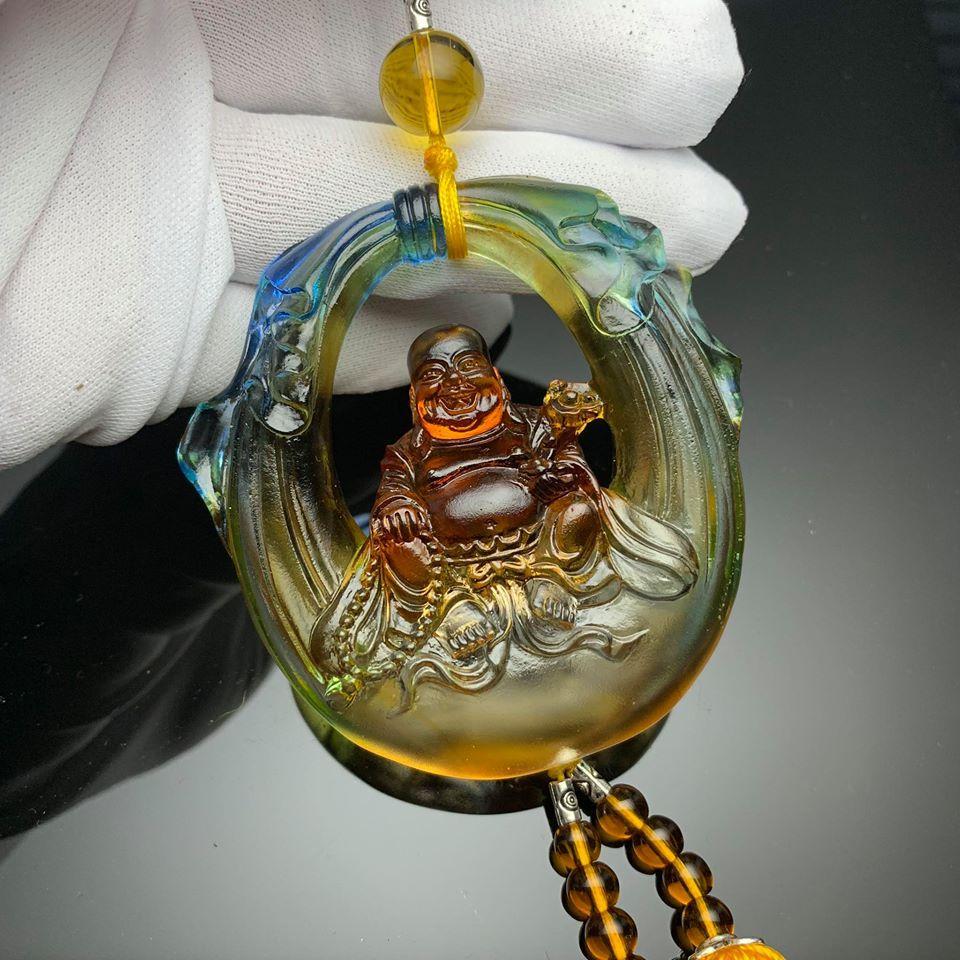 Dây treo xe hơi hình Phật Di Lặc đá lưu ly MS01